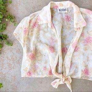 Vintage Jodi Michaels Sheer Floral Crop Top Blouse